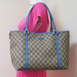 Gucci Coated Canvas Blue Tan with Dustbag Tote